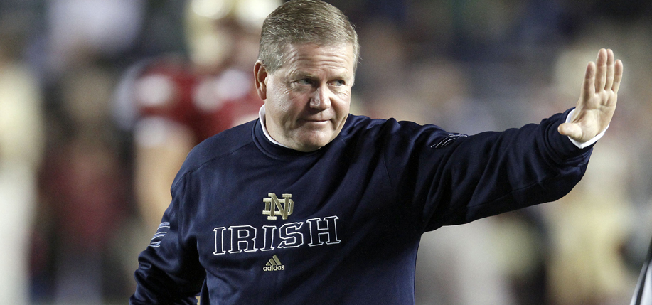 Coach Kelly at a Notre Dame vs. Boston College game in 2010. The Fighting Irish won the day with a final score of 31-13.