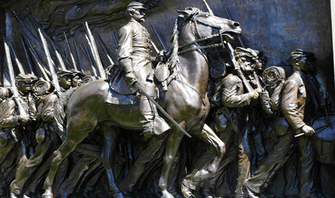 Colonel Robert Gould Shaw Memorial in Boston, completed in 1897 by Dublin-born sculptor Augustus Saint-Gaudens.