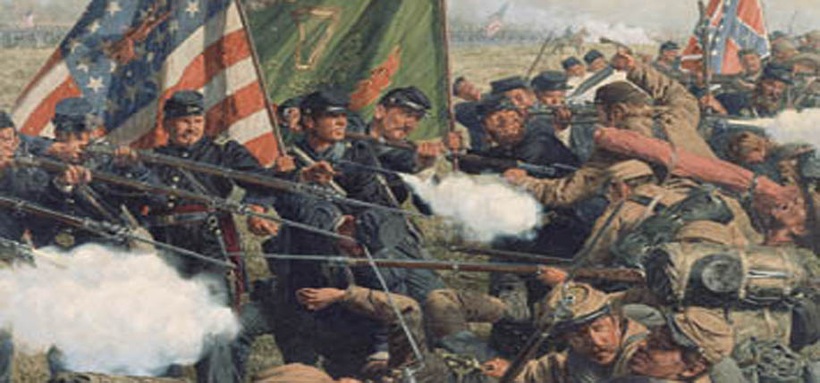 """A Donnybrook at Dusk"" by Bradley Shmel; Brigadier General Thomas Francis Meagher; Savage Station, Virginia. Union field hospital after the battle of June 21."