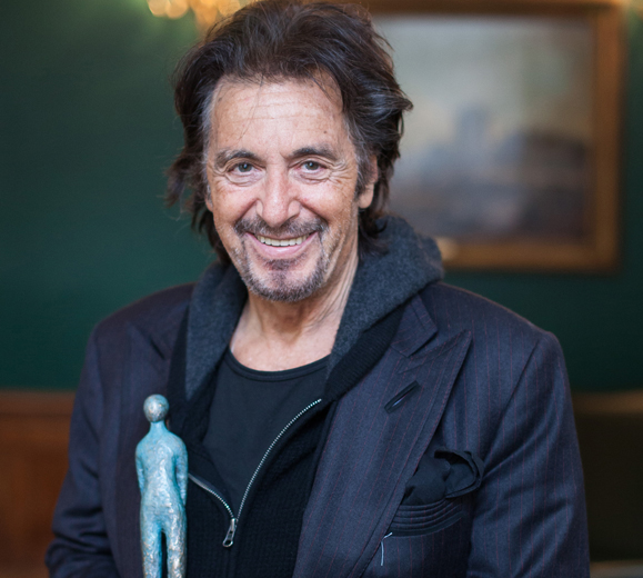 Al Pacino with his Jameson International Film Festival Volta Award, at the Merrion Hotel in Dublin. Photo by David Mannion.