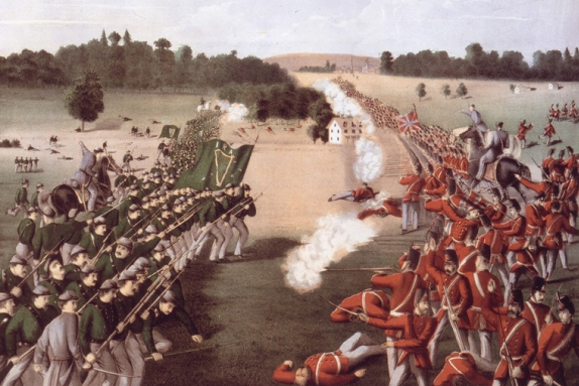 The Battle of Ridgeway. An 1869 illustration from Library Archives Canada.