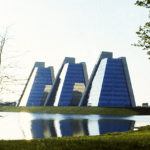College Life Insurance Company of America headquarters, also known as The Pyramids. Indianapolis, Indiana. Photo courtesy of Kevin Roche, John Dinkeloo and Associates.