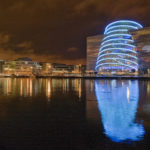 The Convention Center Dublin at night, with a view of Beckett Bridge. Photo courtesy of Kevin Roche, John Dinkeloo and Associates.