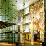 Singapore lobby at night. Photo courtesy of Kevin Roche, John Dinkeloo and Associates.