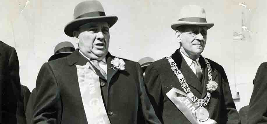 Mayor Richard J. Daley leading the St. Pat's day parade with Lord Mayor Robert Briscoe of Dublin, Ireland.