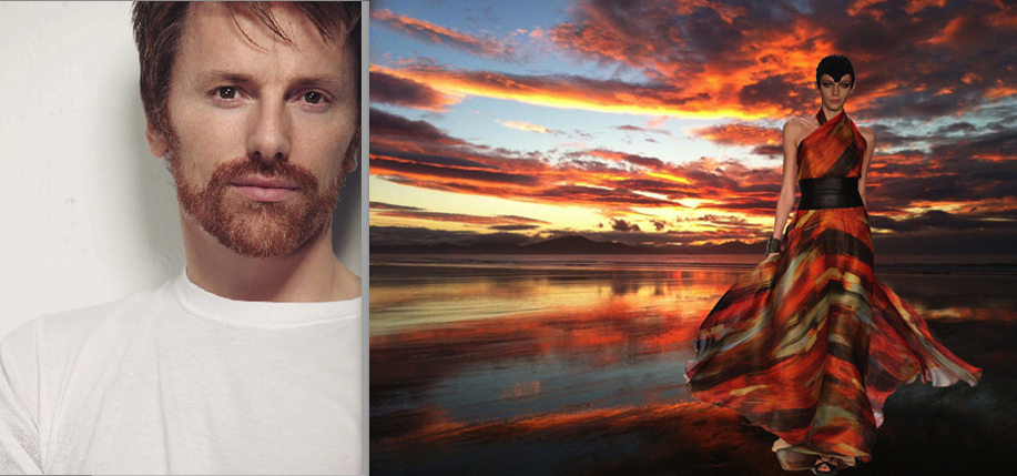 Don O'Neill and a sunset in Ballyheigue, photographed by his brother Patrick, with the dress it inspired for Theia's Fall 2012 runway collection.