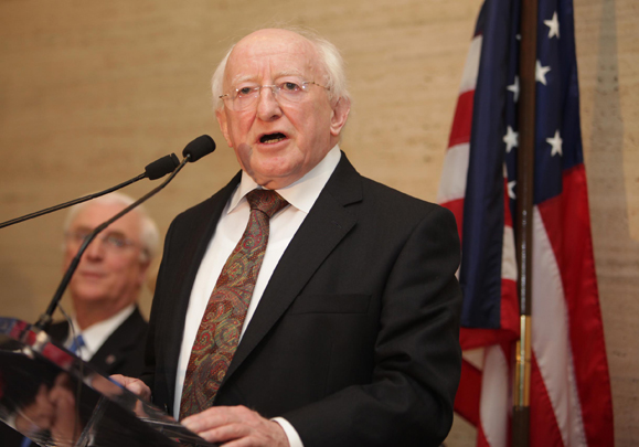 President Michael D. Higgins speaking at the Irish Consulate in New York, on the first night of his U.S. visit. Photo by Fennell Photography.