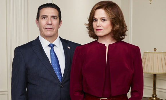 Ciaran Hinds and Sigourney Weaver in Political Animals.