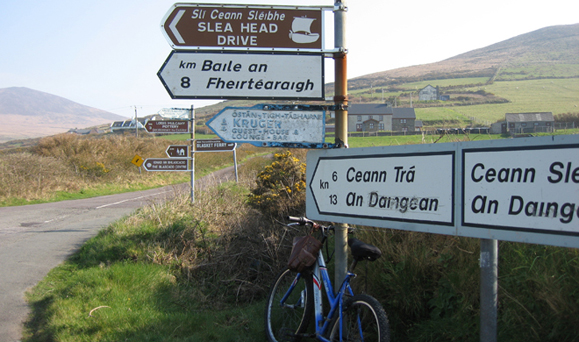Mary Tolan&#039;s rented bike on Slea Head Drive. Photo by Mary Tolan.