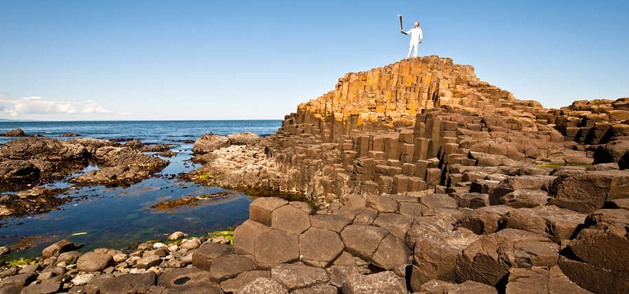 The Olympic torch at the Giant's Causeway. Photo: LOGOC/Getty.
