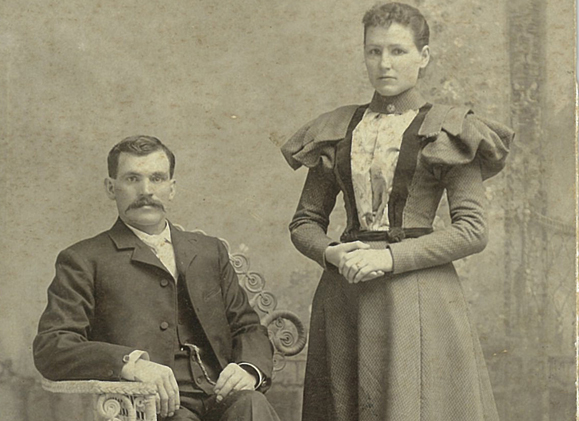 "Dennis O'Connor and Johana ""Hanna"" Fitzgerald, 1897. Submitted by Martha Smithart and Carroll O'Connor."