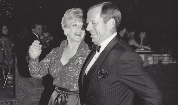 Jimmy Murphy takes Angela Lansbury for a spin around the dance floor at Jimmy&#039;s. Courtesy of Jimmy Murphy.