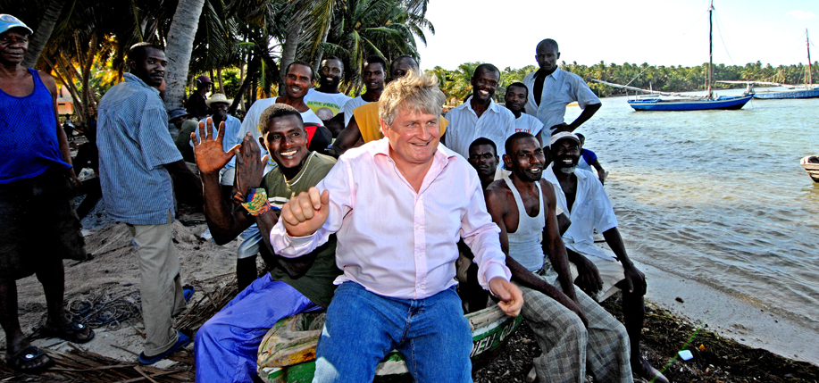 Denis O'Brien with local people in Haiti.