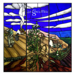 Ballagh's An Gorta Mor stained glass window for Quinnipiac University's Ireland's Great Hunger Museum. Courtesy of Robert Ballagh.