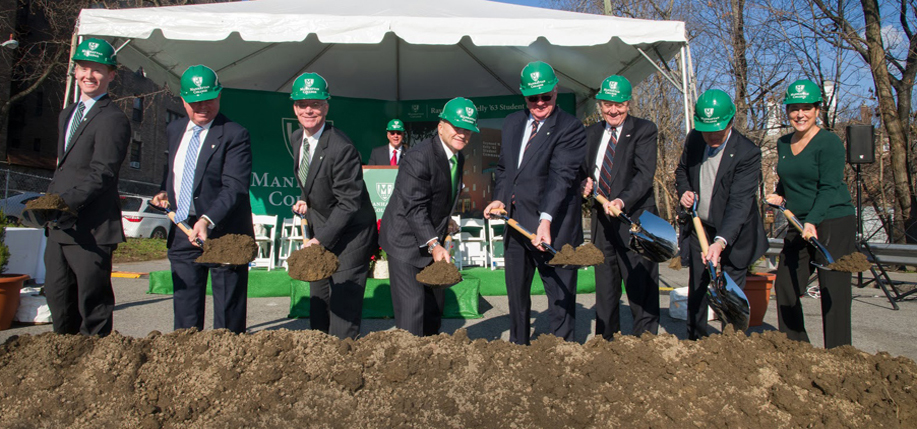 Keelan Ledwidge '14, student body president; Kenneth Rathgeber '70, chairman of the board of trustees; Brennan O'Donnell, president of Manhattan College, Commissioner Raymond W. Kelly '63, Eugene McGrath '63, co-chair of the Raymond W. Kelly '63 Student Commons campaign; Michael Regan '63, chair of the board of trustees Development Committee; Frederic Salerno '65, co-chair of the building's campaign; and Professor Lisa Toscano '79. Courtesy of Manhattan College.