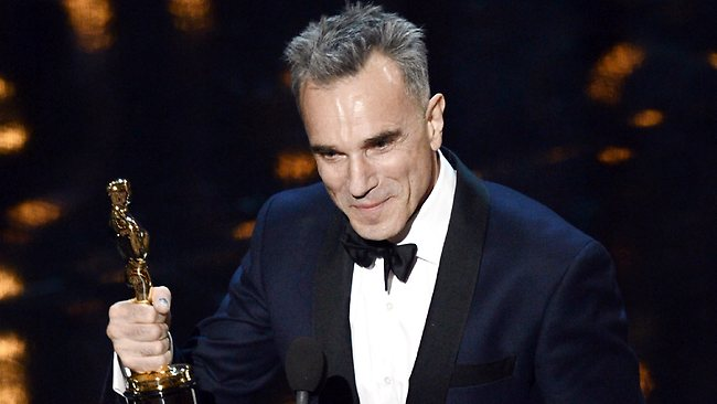 Daniel Day-Lewis on stage at the Dolby Theater after receiving his third Oscar for Best Actor in a Leading Role. Picture: Getty Images