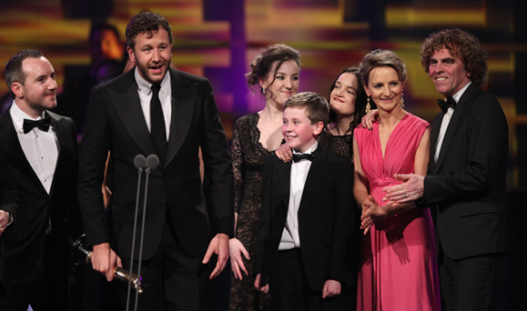 The Cast of Moone Boy, with star and co-writer Chris O'Dowd, at the 2013 IFTAs.