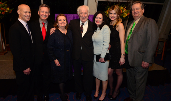 Loretta's family and friends: Jim Blumenfeld, Chris Cooney, Loretta, Seamus Heaney, Kate Cooney Picco, Caitlin Cooney and John V. Cooney, Jr. Photo: James Higgins.