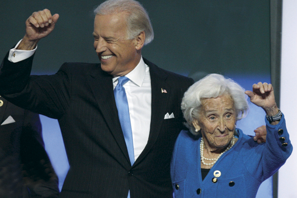 Joe Biden with his mother, Jean Finnegan Biden, at the 2008 Democratic National Convention. Photo: AP.
