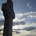 The Middle Island memorial cross at sunset. Photo: John Kernaghan.