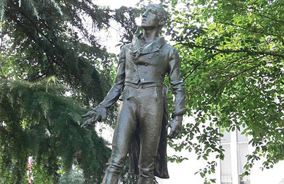 The statue of Robert Emmet in Emmetsburg, Iowa.