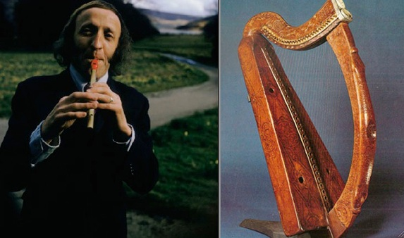 Left: Ireland's most famous tin-whistler, Paddy Moloney of The Chieftains, circa 1970s. Right: Ancient harp, believed to be Brian Boru's, is housed in Trinity College, Dublin.