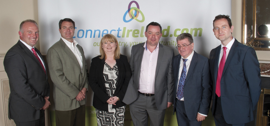 Michael McLoughlin CEO ConnectIreland, Mathew Gilfillan of Mafic, Bernadette Brannigan of Mafic, Hugh Morris who made the connection with Mafic that brought 70 jobs to Kells, Brian Dougan, m