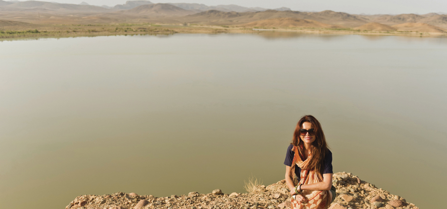 Roma Downey on location in Morocco for the filming of T