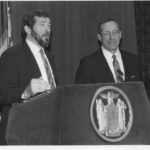Michael Dowling with Gov. Mario Cuomo at a press conference in May '82