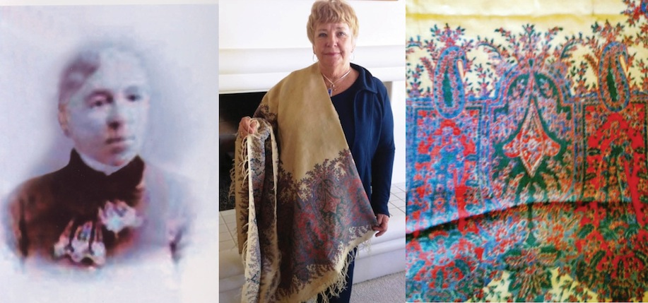 Bridget, her shawl being displayed and a close-up of the shawl's design