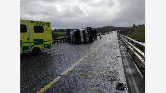 A Truck overturned by high winds on the M8 near Fermoy, Co. Cork. Photo: An Garda Siochana.