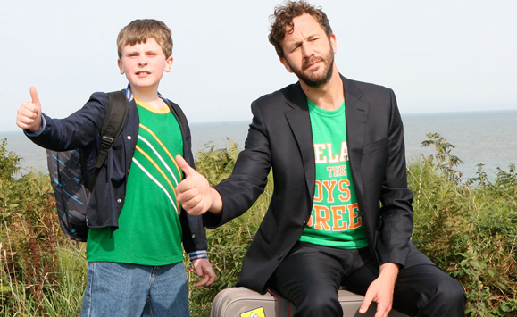 "David Rawle as Martin Moone with Chris O'Dowd as his imaginary friend Sean in ""Moone Boy."" Sky1 2014."