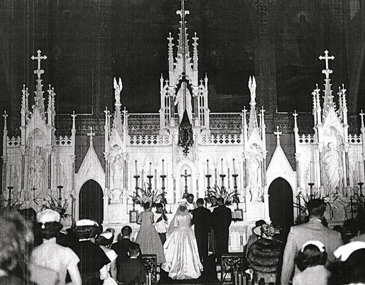 The original altar at Holy Name of Jesus Christ Church in Brooklyn.