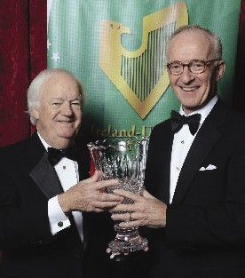 President Brian W. Stack presenting the Ireland-U.S. Council's Award for Outstanding Achievement to Gerald C. Crotty, Chairman & CEO of Mayo Renewable Power at the 52nd Annual Dinner in New York.