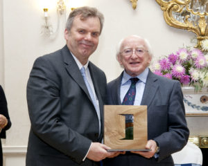 O'Dowd (left) with President Higgins at the Presidential Distinguished Service Awards 2014 for the Irish Abroad. Photo Chris Bellew / Copyright Fennell Photography 2014