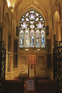 The interior of the small gothic church that Mitchell Henry built on the grounds at Kylemore Castle after the death of his wife Margaret.