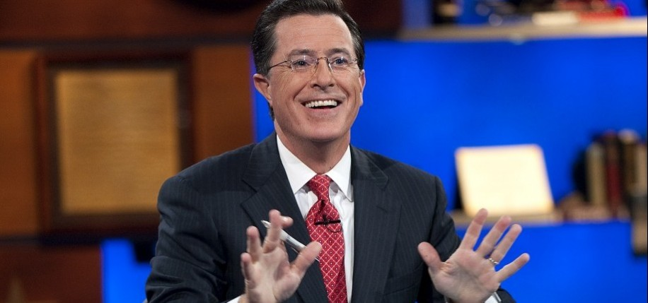 "Host Stephen Colbert appears during the ""Been There: Won That: The Returnification of the American-Do Troopscapeon"" special of The Colbert Report on September 8, 2010 in New York City. (Photo by Scott Gries/PictureGroup)"