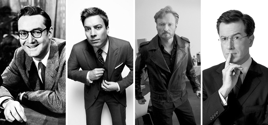Left to Right: Professional Irish American talkers Steve Allen, Jimmy Fallon, Conan O'Brien, and Stephen Colbert.