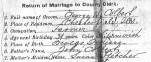 Marriage license recording George W. Colbert's race as Irish.