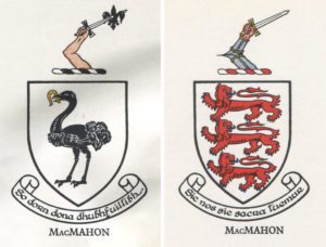 The coat of arms of the Ulster McMahons (left) and the Clare McMahons (right). Irish Families, by Edward MacLysaght (Hogges Figgis: 1957).