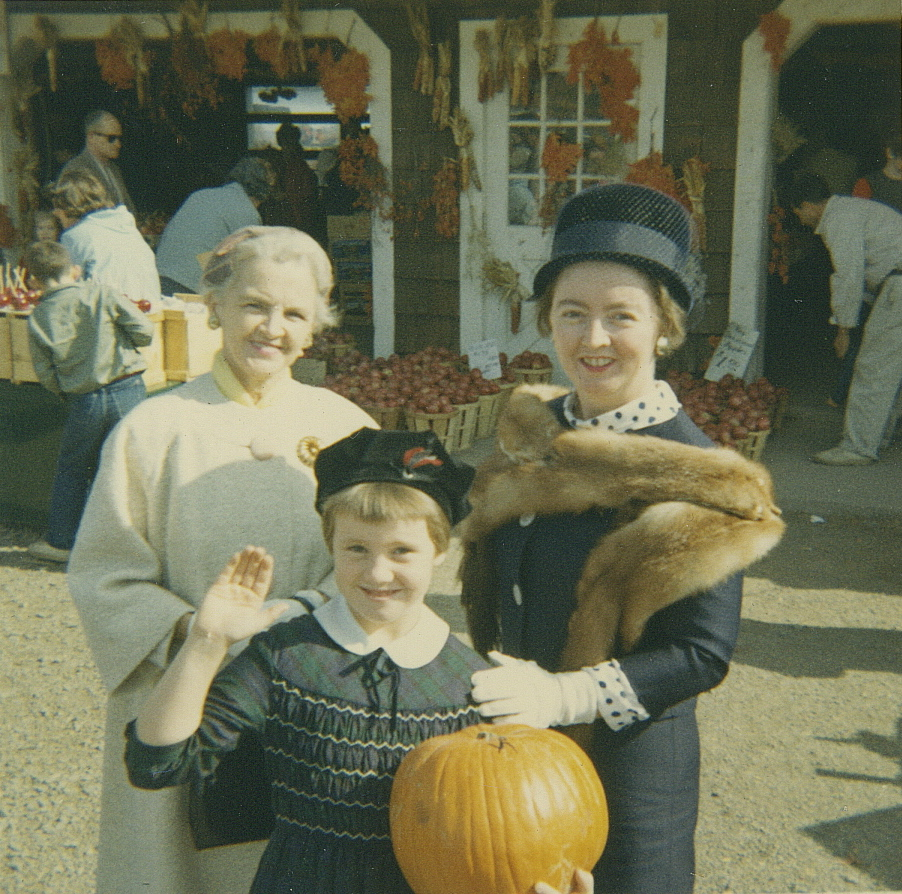 "Grandma  helping Mom and me pick out the best pumpkin ever at Tice's Farm in Montvale, N.J., on a Sunday morning after mass in 1964.   From left to right,  Mary Garvey O'Connor,  Margaret-Mary  ""Maggie""Cahill,  Helen O'Connor Cahill."