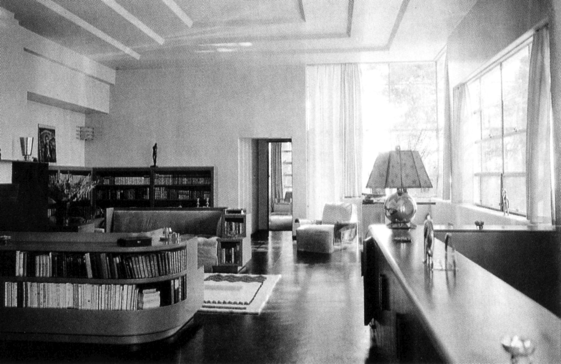 Interior of Gibbons's house in the Santa Monica Mountains as it appeared in 1930.