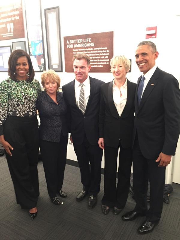 From left: First Lady Michelle Obama, Courtney Kennedy, Peter McLoughlin, Patricia Harty, and President Obama at the Kennedy center opening. (Photo courtesy of the author)