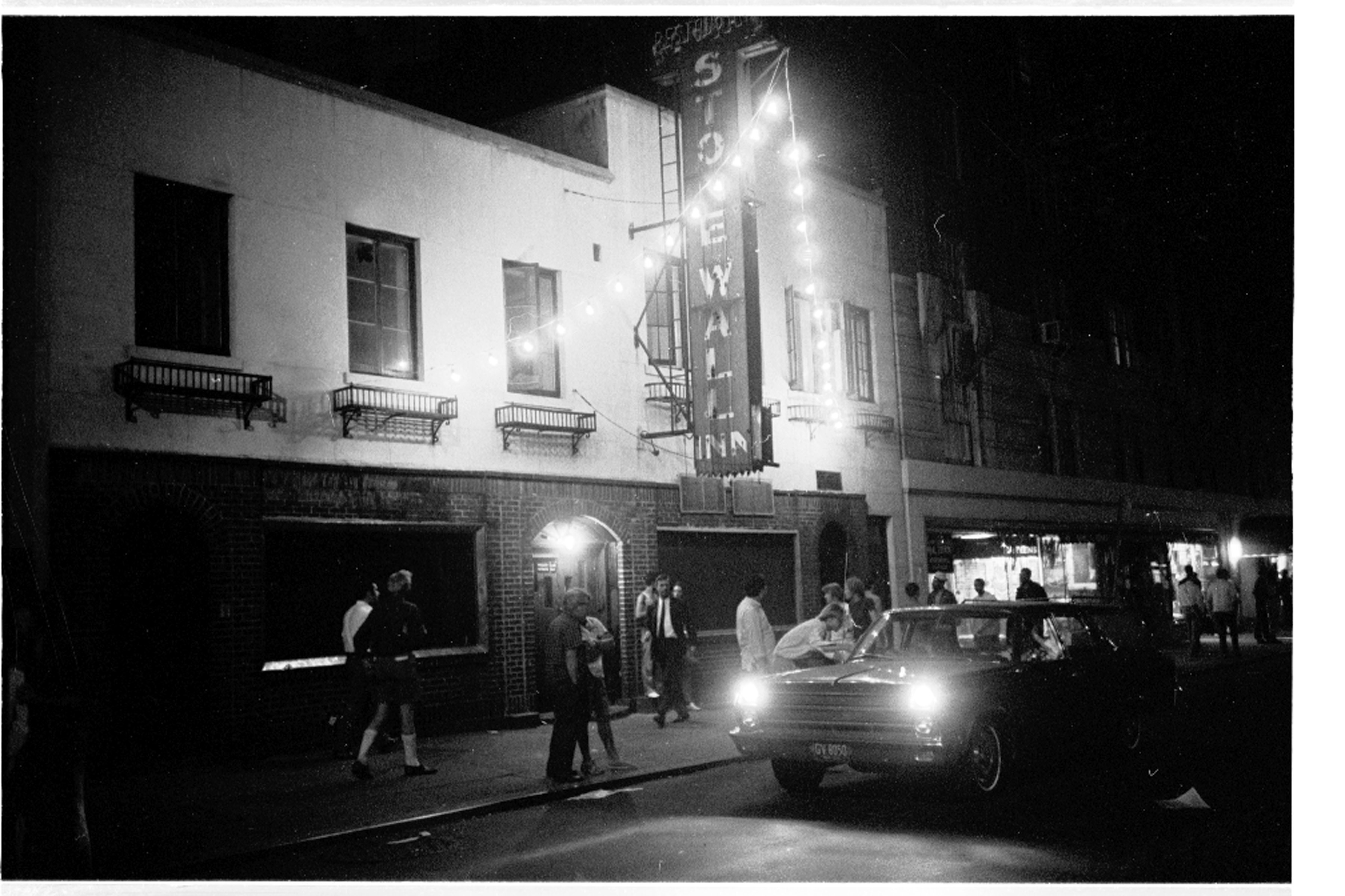 Stonewall Bar in July 1969, as seen in Kate Davis and David Heilbroner's documentary STONEWALL UPRISING.  A First Run Features Release.  Photo by Larry Morris / The New York Times.