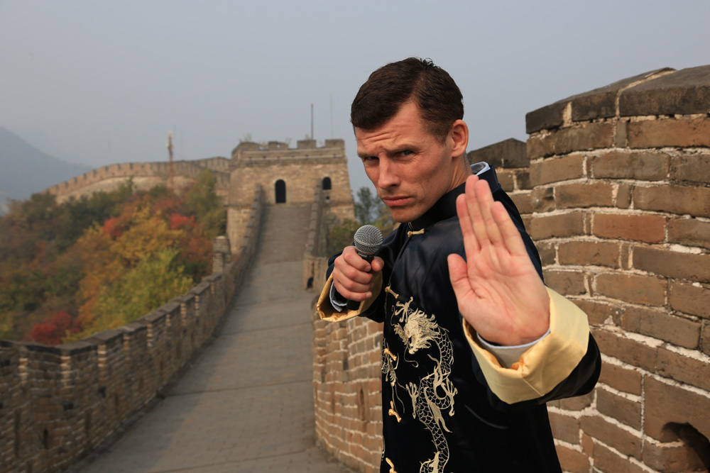 In or out?: Bishop on the Great Wall of China. Before moving there, Bishop admits he knew nothing other than two cultural stereotypes: the famous photo of the man in front of the tank in Tiananmen Square, and the kung fu movies he used to go see in Times Square. He is happy to have those images busted.