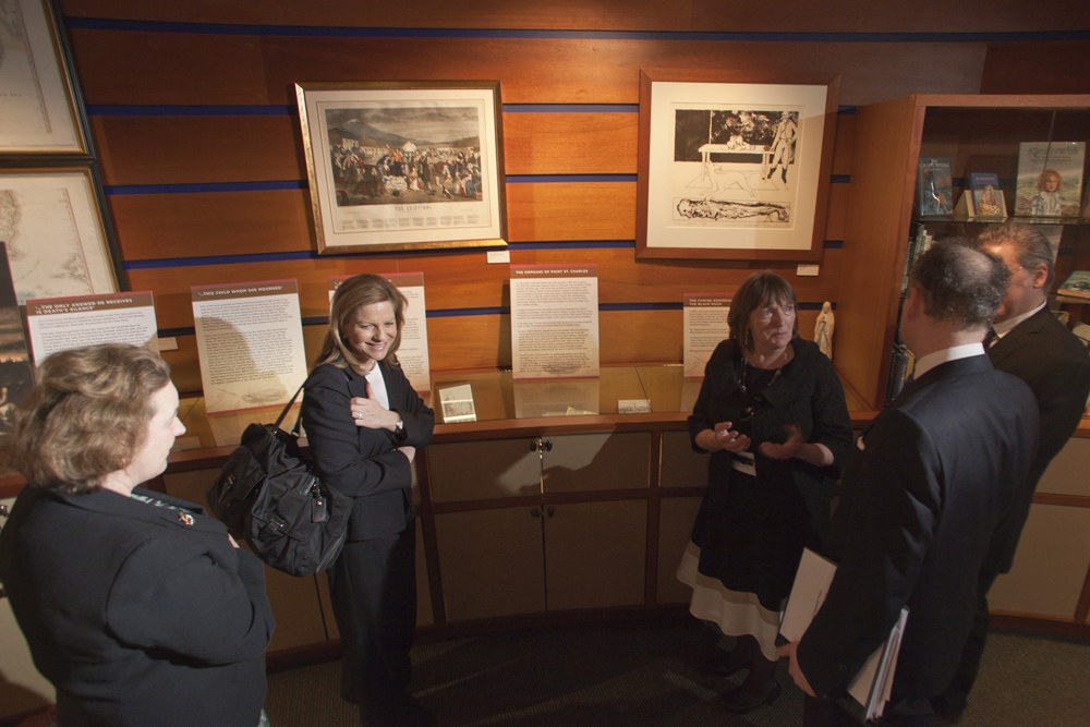 "Barbara Jones, left, Consul General of Ireland, Marie-Claude Francoeur, Quebec Delegate to New England,Christine Kinealy,  John F. Prato, Consul General of Canada,  and Jason King toured the exhibit ""Saving the Famine Irish: The Grey Nuns and the Great Hunger""  on display at the Arnold Bernhard Library on the Mount Carmel campus of Quinnipiac University. The exhibit opened to the public April 1, 2015.(Photograph by Johnathon Henninger / for Quinnipiac University)"