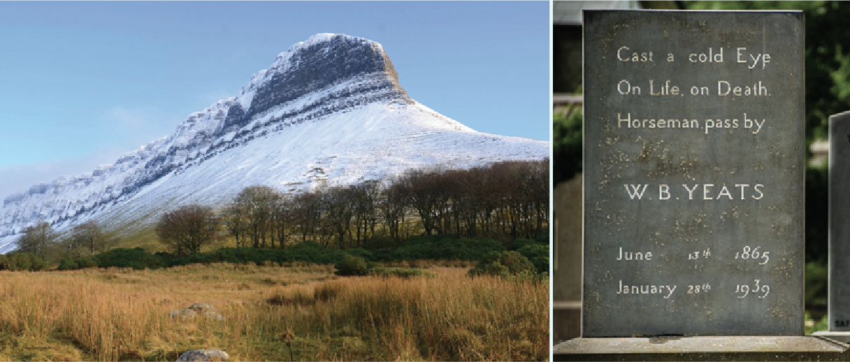 Left: Ben Bulben after snowfall. Right: Yeats's gravestone at Drumcliffe Churchyard.