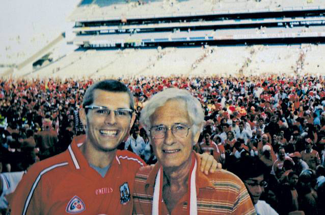 Rebels: Des Bishop with his father Mike at Croke Park after a Cork All-Ireland  hurling victory in 2004.
