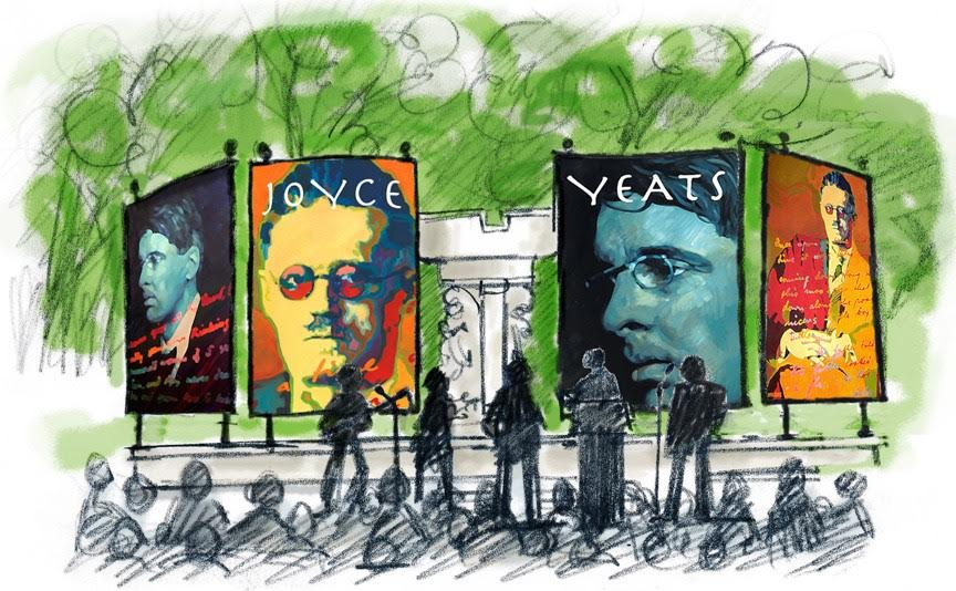 A public celebration of Yeats and Joyce aat Dupont Circle. This image was used for the program and chosen through a design competition at the Irish Embassy in Washington, D.C. (Photo courtesy Department of Foreign Affairs, Ireland)