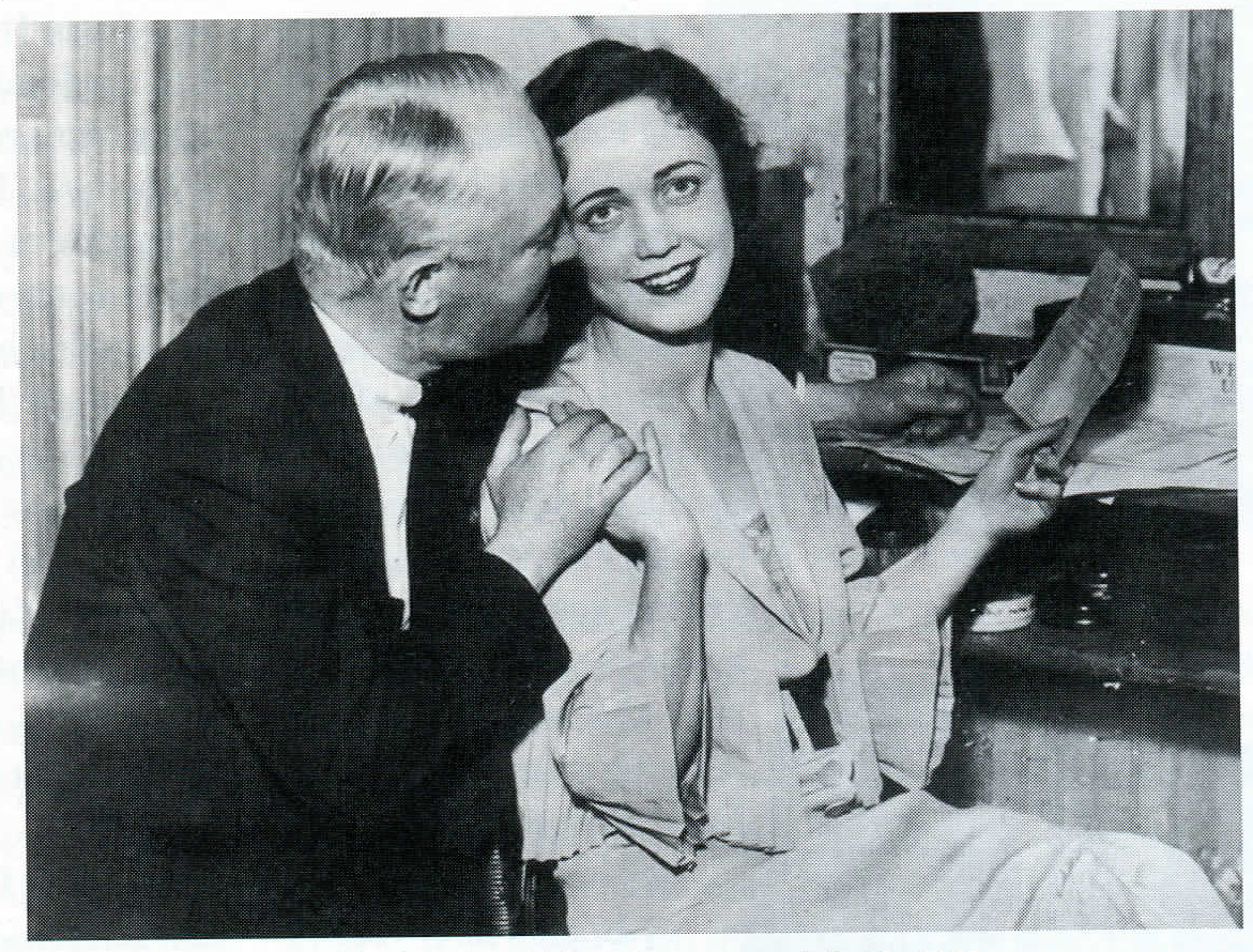 Cohan congratulates his daughter Helen at her stage debut in 1934.